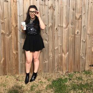 Black ouija T-shirt and black mini skirt